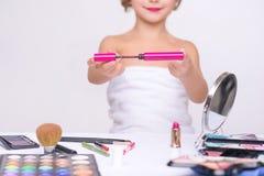Nice little girl doing make up Royalty Free Stock Image