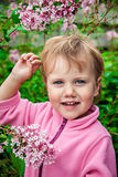 Nice little girl with lilac bush Royalty Free Stock Photo