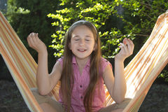 Nice little girl in meditation. Colorful picture Royalty Free Stock Images