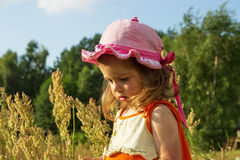 Nice little girl playing in meadow at sunset Royalty Free Stock Image