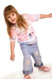 Nice little girl portrait on white Stock Photo