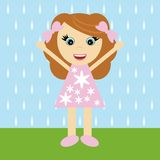 Nice little girl and rain Royalty Free Stock Photos