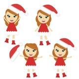 Nice little girl in Santa style dress Stock Images