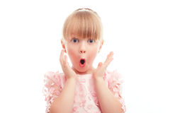 Nice little girl showing surprise Stock Photo