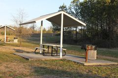 Nice little picnic house at the park nice afternoon. Nice little picnic house at the park Dalton, GA beautiful sunset Royalty Free Stock Photos