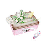 Nice little pink boxe with white roses and candy. Watercolor Royalty Free Stock Image