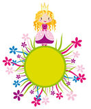 Nice little princess on the flower circle. Vector cartoon illustration of a fairy princess girl staying on the decorative colorful flower circle Stock Images
