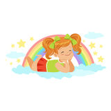 Nice little redhead girl lying on her stomach on a cloud next to the rainbow and dreaming, kids imagination and fantasy Stock Photo