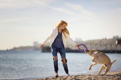 Close up portrait of beautiful long haired girl playing with her Labrador Retriever dog on the beach Royalty Free Stock Photo