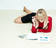 Nice looking girl planing budget Stock Images