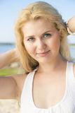 Nice looking woman in dress with hairs Stock Image