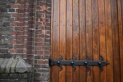 Wooden church doors stock photo