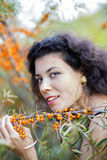 Nice looking young woman hold branch Royalty Free Stock Image