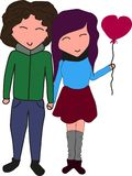 Nice lovely couple in love holding hands stock illustration