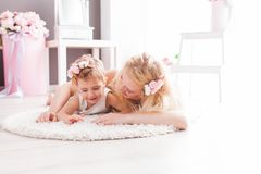 Nice lying on the floor in the room royalty free stock photography