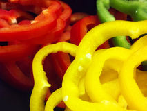 Nice Macro Of Sliced Sweet Peppers On Black Background Stock Photography