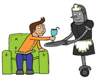 Nice maid robot. A maid robot serve her boss Royalty Free Stock Photo
