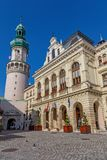 Nice main square in a small town Sopron in north Hungary, 23. 08. 2017 Hungary.  Royalty Free Stock Photos