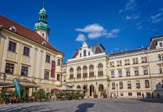 Nice main square in a small town Sopron in north Hungary, 23. 08. 2017 Hungary.  Stock Image