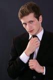 Nice man on black Royalty Free Stock Photography