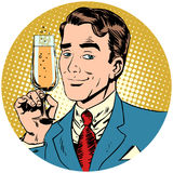 Nice man with a glass of champagne sparkling wine stock illustration