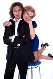 Nice man and woman in a black and blue dress Stock Photo