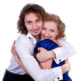 Nice man and woman in a black and blue dress royalty free stock photo