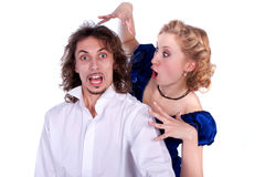 Nice man and woman in a black and blue dress stock photos