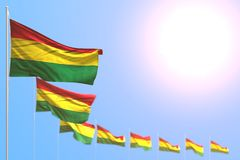 Pretty labor day flag 3d illustration - many Bolivia flags placed diagonal with soft focus and free place for your text vector illustration
