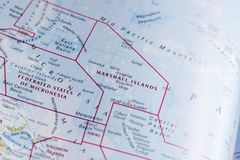 Ivanovsk, Russia - January 24, 2019: Marshall Islands on the map of the world. Nice map illustration of geographic place, for your needs stock photo