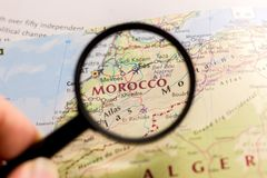 Morocco on the map of the world stock images