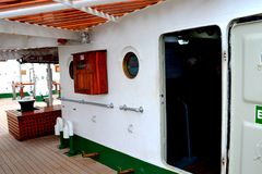 Nice Marine Ship-School `Mircea` in  Constanta harbor at Black Sea. Stock Image