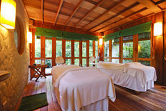 Nice massage room in spa saloon Stock Photos