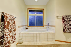 Nice master bathroom with jacuzzi tub. Royalty Free Stock Images