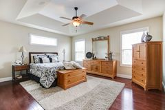 Nice master suite with tray ceililng stock images