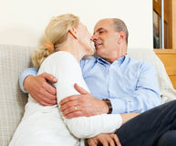 Nice mature  couple  on sofa in home Royalty Free Stock Photography