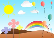 Nice meadow with balloons Royalty Free Stock Photography