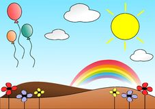 Nice meadow with balloons Royalty Free Stock Image
