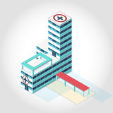 Nice medical isometric building. Illustration for scientific article, personal web and presentation Stock Images