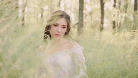 Nice medieval lady with dark wavy hair in a white luxurious light vintage summer dress with a mesh and floral patterns. Walks slowly in an amazing forest alone stock footage