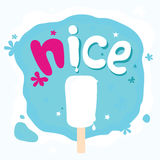 Nice melting ice cream. On blue background Royalty Free Stock Images