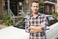 Nice men with his brand new car Royalty Free Stock Photo