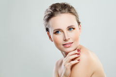 Nice Model Woman with Healthy Skin on Banner Background. Facial Treatment and Cosmetology Concept stock photography