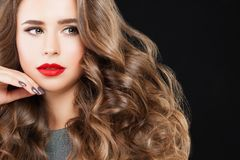 Nice Model Woman with Long Wavy Hair, Perfect Makeup Royalty Free Stock Photos
