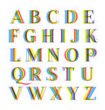 Nice modern colorful alphabet set. Letters pack with popular stereo effect stock illustration