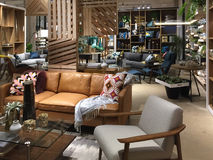 Nice modern home furnishing store inside Stock Photo