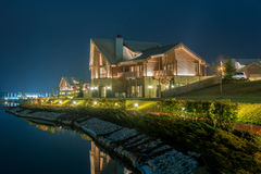 Nice modern house near lake Royalty Free Stock Images
