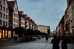 Nice modern night view of the central Swidnicka street in Wroclaw old town. Wroclaw is the largest city in western Poland Royalty Free Stock Photos