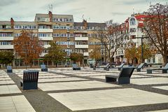 Nice modern view of Nowy Targ square in Wroclaw old town. Wroclaw is the largest city in western Poland and historical capital of Silesia Royalty Free Stock Images