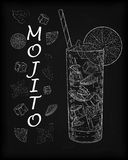 Nice mojito of ice cold glass on a black background. Soda with w Royalty Free Stock Photo